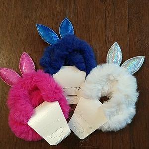 Fluffy Bunny Ear Hair Ties NWT